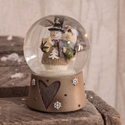 Rustic Christmas Snowman  Small Snow Globe